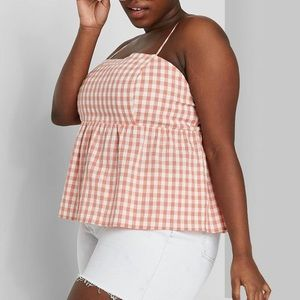 Wild Fable Gingham Peach Crop Top Plus Size 3X